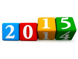 Different Colored Four Blocks With 2015 Year For Business Goals Stock Photo