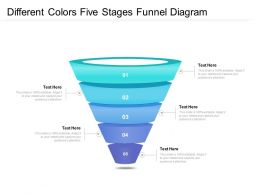 Different Colors Five Stages Funnel Diagram