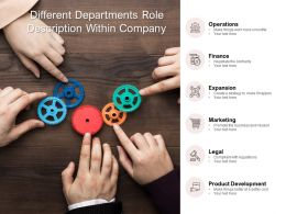Different Departments Role Description Within Company