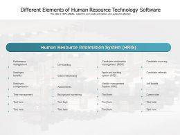 Different Elements Of Human Resource Technology Software
