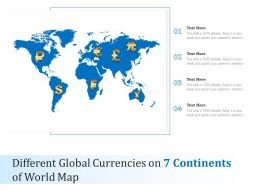 Different Global Currencies On 7 Continents Of World Map