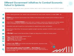 Different Government Initiatives To Combat Economic Fallout In Epidemic Ppt Powerpoint Presentation Icon