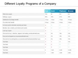 Different Loyalty Programs Of A Company