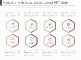 Different Marketing With Social Media Layout Ppt Slide