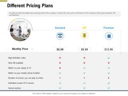Different Pricing Plans Pitch Deck Raise Funding Pre Seed Money Ppt Introduction