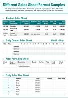 Different Sales Sheet Format Samples Presentation Report Infographic PPT PDF Document