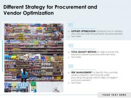 Different Strategy For Procurement And Vendor Optimization