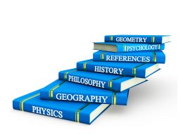 Different Subjects Text On Blue Books Stock Photo