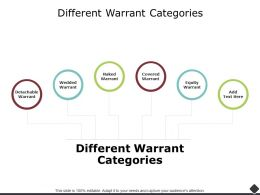 Different Warrant Categories Equity Ppt Powerpoint Presentation Outline Template