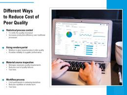 Different Ways To Reduce Cost Of Poor Quality