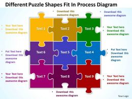 Diffrent Puzzle  Shapes Fit In Process Diagram Powerpoint Templates ppt presentation slides 812