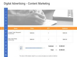 Digital Advertising Content Marketing Advertisement Planning And Design Proposal Template Ppt Grid