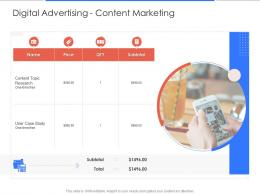 Digital Advertising Content Marketing Campaign Design And Execution Proposal Template Ppt Design