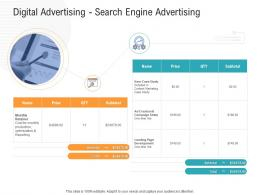 Digital Advertising Search Engine Advertising Advertisement Planning And Design Proposal Template Ppt Aids