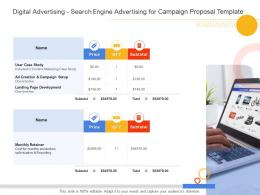 Digital Advertising Search Engine Advertising For Campaign Proposal Template Ppt Powerpoint Styles