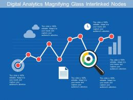 Digital Analytics Magnifying Glass Interlinked Nodes
