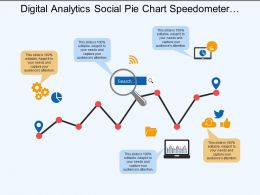 Digital Analytics Social Pie Chart Speedometer Magnifying Glass
