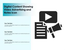 Digital Content Showing Video Advertising And Notes Icon