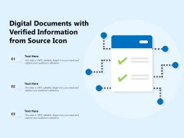 Digital Documents With Verified Information From Source Icon