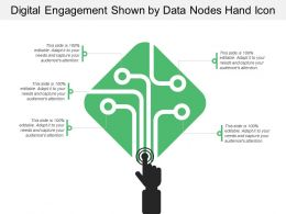 Digital Engagement Shown By Data Nodes Hand Icon