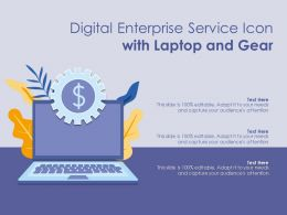 Digital Enterprise Service Icon With Laptop And Gear