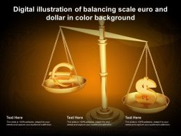 Digital Illustration Of Balancing Scale Euro And Dollar In Color Background