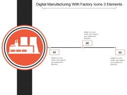 Digital Manufacturing With Factory Icons 3 Elements