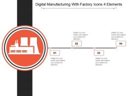 Digital Manufacturing With Factory Icons 4 Elements