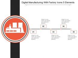 Digital Manufacturing With Factory Icons 5 Elements