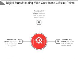 Digital Manufacturing With Gear Icons 3 Bullet Points