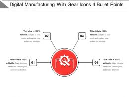 Digital Manufacturing With Gear Icons 4 Bullet Points