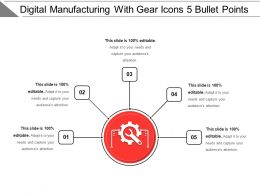 Digital Manufacturing With Gear Icons 5 Bullet Points
