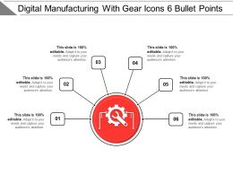 Digital Manufacturing With Gear Icons 6 Bullet Points
