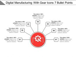 Digital Manufacturing With Gear Icons 7 Bullet Points
