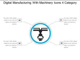 Digital Manufacturing With Machinery Icons 4 Category