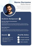 Digital Marketer Resume Template Media Planner CV A4 Download