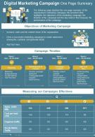 Digital Marketing Campaign One Page Summary Presentation Report Infographic PPT PDF Document