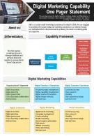 Digital Marketing Capability One Pager Statement Presentation Report Infographic PPT PDF Document
