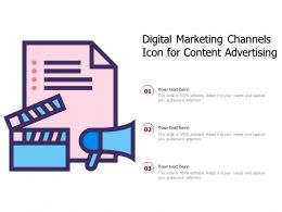 Digital Marketing Channels Icon For Content Advertising