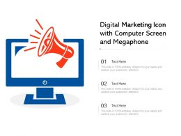 Digital Marketing Icon With Computer Screen And Megaphone