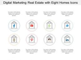 Digital Marketing Real Estate With Eight Homes Icons
