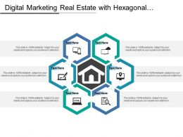 Digital Marketing Real Estate With Hexagonal Shaped Connected