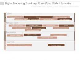Digital Marketing Roadmap Powerpoint Slide Information