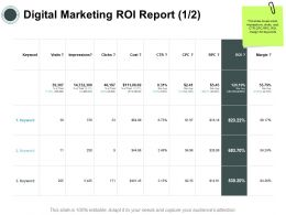 Digital Marketing ROI Report Table Ppt Powerpoint Presentation Infographics Show