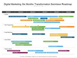 Digital Marketing Six Months Transformation Swimlane Roadmap