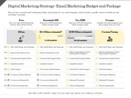 Digital Marketing Strategy Email Marketing Budget And Package Essentials Ppt Powerpoint Presentation Picture