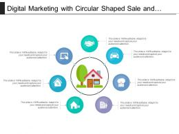 Digital Marketing With Circular Shaped Sale And Parking Icons
