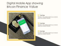 Digital Mobile App Showing Bitcoin Finance Value