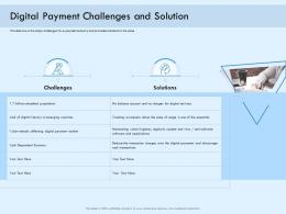 Digital Payment Challenges And Solution Online Solution Ppt Background