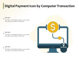 Digital Payment Icon By Computer Transaction